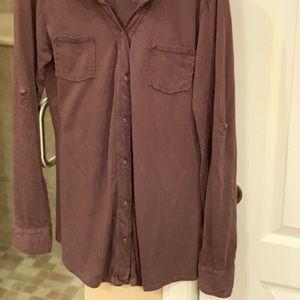 Michael Stars Tops - Michael stars brown soft cotton long length button